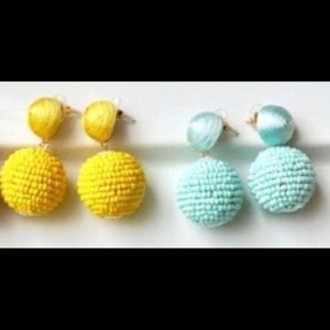 Jewelry - 💕NWT BEADED BALL DROP EARRINGS! BLUE AND YELLOW!